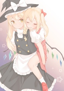 Rating: Safe Score: 0 Tags: 2girls apron bangs black_bow black_hat black_skirt blonde_hair blush bow braid carrying closed_eyes closed_mouth eyebrows_visible_through_hair flandre_scarlet gradient gradient_background hair_bow hands_on_another's_shoulders hat hat_bow highres kirisame_marisa loafers long_hair multicolored_background multicoloured multiple_girls pointy_ears puffy_short_sleeves puffy_sleeves red_bow red_footwear red_skirt sakurea shoes short_sleeves side_braid side_ponytail single_braid skirt skirt_set smile socks star touhou_project waist_apron white_apron white_bow white_legwear witch_hat yellow_eyes User: DMSchmidt