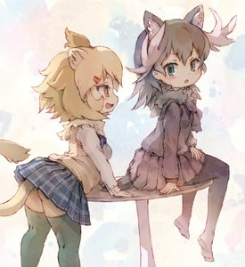 Rating: Safe Score: 1 Tags: 2girls animal_ears antlers aqua_eyes arm_support ass bangs black_hair black_legwear black_skirt blonde_hair blush breasts contemporary dress_shirt eyebrows_visible_through_hair eyelashes fang fur_collar hair_ornament hair_tie hairclip highres kemono_friends kolshica leaning_on_table lion_(kemono_friends) lion_ears lion_tail long_sleeves looking_at_another looking_back moose_(kemono_friends) moose_ears mouse_tail multicolored_background multicoloured multicoloured_hair multiple_girls on_table open_mouth pantyhose plaid plaid_skirt pleated_skirt round_table school_uniform shirt shoes_removed sitting sitting_on_table skirt small_breasts standing sweater sweater_vest table tail thighhighs white_hair white_shirt yellow_eyes zettai_ryouiki User: DMSchmidt