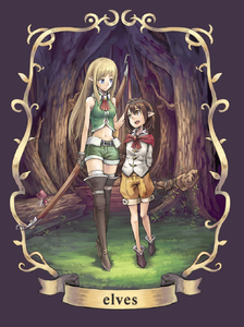 Rating: Safe Score: 0 Tags: 2girls age_difference arms_behind_back blonde_hair blue_eyes boots bow_(weapon) brown_hair elf english forest gloves grass hand_on_another's_head highres kurio long_hair looking_at_another midriff multiple_girls mushroom nature navel original pointy_ears shirt short_hair shorts sleeveless sleeveless_shirt staff thigh_boots thighhighs tree weapon yellow_eyes User: Domestic_Importer