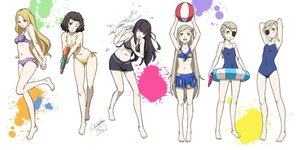 Rating: Safe Score: 1 Tags: 6+girls bikini black_hair blush braid breasts brown_eyes brown_hair caroline_(persona_5) cleavage eyepatch flat_chest justine_(persona_5) kawakami_sadayo lavenza long_hair looking_at_viewer mifune_chihaya multiple_girls navel one-piece_swimsuit persona persona_5 short_hair siblings sisters smile swimsuit tougou_hifumi twins water water_gun werkbau white_background User: DMSchmidt