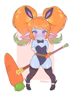 Rating: Safe Score: 2 Tags: 1girl alternate_costume alternate_hair_colour animal_ears arms_behind_back artist_name bare_shoulders black_legwear black_neckwear blue_skin blush bow bowtie bunny_ears bunnysuit bush closed_mouth detached_collar embarrassed fake_animal_ears flat_chest gradient_hair green_hair hammer highres league_of_legends looking_at_viewer multicoloured_hair nestkeeper orange_hair pointy_ears poppy purple_eyes short_hair solo standing thighhighs twin_tails yordle User: DMSchmidt