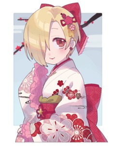Rating: Safe Score: 0 Tags: 10s 1girl asymmetrical_hair bow branch cherry_blossoms earrings hair_bow hair_over_one_eye idolmaster idolmaster_cinderella_girls japanese_clothes jewellery kimono light_smile lipstick looking_at_viewer makeup red_eyes shirasaka_koume short_hair solo upper_body uso_(ameuzaki) User: Domestic_Importer