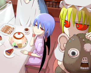 Rating: Safe Score: 1 Tags: 3girls apron bad_id bad_pixiv_id bat_wings black_sclera blue_dress dress eating eyelashes flandre_scarlet food hat izayoi_sakuya looking_at_another looking_to_the_side maid maid_apron mob_cap multiple_girls object_hug okahi out_of_frame perspective pink_dress pouty_lips pudding red_eyes red_sclera remilia_scarlet short_hair touhou_project waist_apron when_you_see_it wings yellow_eyes User: DMSchmidt