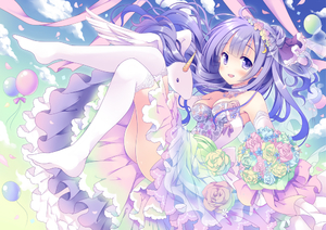 Rating: Safe Score: 0 Tags: 1girl :d alicorn animal azur_lane balloon bangs bare_shoulders blue_flower blue_rose blue_sky blush bouquet breasts cleavage cloud day dress elbow_gloves eyebrows_visible_through_hair flower full_body gloves gradient_sky green_flower green_rose green_sky hair_bun holding holding_bouquet hoshino_koucha long_hair medium_breasts no_shoes open_mouth outdoors over-kneehighs pink_flower pink_rose purple_eyes purple_hair rose sky smile solo strapless strapless_dress thighhighs thighs unicorn_(azur_lane) very_long_hair white_dress white_gloves white_legwear User: DMSchmidt