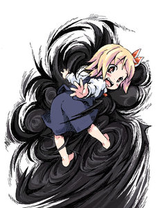 Rating: Safe Score: 1 Tags: +_+ 1girl barefoot blonde_hair darkness ham_(points) looking_back open_mouth red_eyes rumia smile solo team_shanghai_alice touhou_project User: DMSchmidt