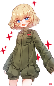 Rating: Safe Score: 1 Tags: 1girl baocaizi blonde_hair blue_eyes blush cowboy_shot fang girls_und_panzer highres katyusha looking_at_viewer open_mouth pravda_military_uniform short_hair shorts signature simple_background sleeves_past_wrists solo v-shaped_eyebrows white_background User: DMSchmidt