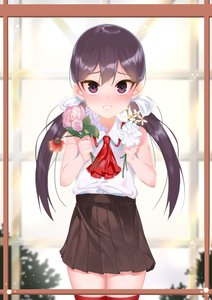 Rating: Safe Score: 0 Tags: 1girl absurdres aowltus209 ascot blush bow bush flower flower_request frame hair_bow highres holding holding_flower indoors kimjunho looking_at_viewer low_twintails original parted_lips purple_eyes purple_hair rose skirt solo thighhighs tsurime twin_tails white_bow window zettai_ryouiki User: DMSchmidt