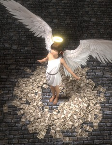 Rating: Safe Score: 5 Tags: 1girl 3dcg angel brick_floor closed_eyes closed_mouth dollar dress flat_chest full_body halo highres money original photorealistic solo standing tied_hair toufu_(tofusan) white_dress wings User: Domestic_Importer