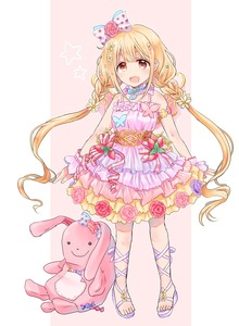 Rating: Safe Score: 0 Tags: 1girl :d armlet arms_at_sides bangs bare_shoulders bell bell_choker belt blonde_hair blue_bow blue_ribbon blush body_blush bow bracelet braid butterfly_ornament candy chii_(sbshop) choker daisy dot_nose dress eyebrows_visible_through_hair fairy_wings fake_wings fingernails flower food frilled_choker frilled_dress frills fruit full_body futaba_anzu hair_bow hair_flower hair_ornament highres idolmaster idolmaster_cinderella_girls idolmaster_cinderella_girls_starlight_stage jewellery layered_dress leg_ribbon lollipop long_hair looking_at_viewer multicoloured multicoloured_clothes multicoloured_dress neck_ribbon open_mouth out_of_frame outline pearl pearl_bracelet pigeon-toed pink_background pink_belt pink_bow pink_choker pink_dress pink_flower pink_ribbon pink_rose pink_wings polka_dot polka_dot_bow purple_bow purple_dress purple_footwear purple_ribbon red_flower red_rose ribbon rose sandals sidelocks skirt sleeveless sleeveless_dress smile solo spaghetti_strap standing star strawberry stuffed_animal stuffed_bunny stuffed_toy tareme toes twin_braids twin_tails very_long_hair wings wrist_cuffs yellow_eyes yellow_skirt User: Domestic_Importer