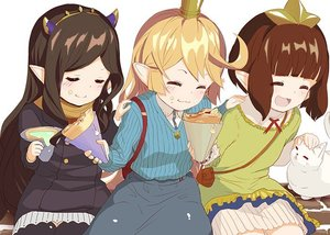 Rating: Safe Score: 1 Tags: 3girls alternate_costume arulumaya blonde_hair bridgette_(granblue_fantasy) brown_hair charlotta_fenia closed_eyes collared_shirt crepe crown dress eyebrows_visible_through_hair food frills granblue_fantasy harvin long_hair multiple_girls o_(rakkasei) petting scarf shirt short_hair skirt smile User: DMSchmidt