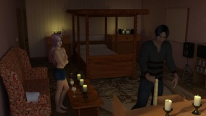 Rating: Questionable Score: 3 Tags: 1boy 1girl 3dcg afraid age_difference bedroom breasts cabinet candle candlelight canopy_bed coffee_table couch covering_breasts hardway_house highres original photorealistic rope self_upload shocked shorts small_breasts standing stereo tank_top topless virginlover User: Virginlover