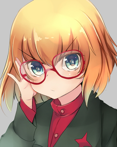 Rating: Safe Score: 0 Tags: >:/ 10s 1girl >:/ actas amai_nekuta bespectacled blonde_hair blue_eyes blush closed_mouth girls_und_panzer glasses grey_background head_tilt katyusha long_sleeves looking_at_viewer red-framed_eyewear red_shirt school_uniform shirt short_hair simple_background solo upper_body User: DMSchmidt