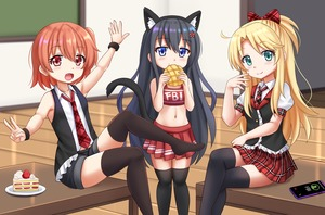 Rating: Safe Score: 3 Tags: 3girls :d animal_ear_fluff animal_ears bangs bare_arms bare_shoulders black_hair black_jacket black_legwear black_shorts black_vest blonde_hair blue_eyes blurry blurry_background blush bow bread brown_eyes brown_hair brown_legwear cake cat_ears cat_girl cat_tail cellphone cheerleader collared_shirt crop_top depth_of_field eating eyebrows_visible_through_hair fang flower food green_eyes hair_between_eyes hair_bow hair_flower hair_ornament high_ponytail highres himesaka_noa holding holding_food hoshino_hinata indoors jacket kazenokaze legs_crossed melon_bread multiple_girls navel necktie open_mouth phone plaid plaid_bow plaid_neckwear plaid_skirt plate pleated_skirt ponytail puffy_short_sleeves puffy_sleeves red_bow red_flower red_neckwear red_skirt shirosaki_hana shirt short_shorts short_sleeves shorts sitting skirt sleeveless sleeveless_jacket sleeveless_shirt slice_of_cake smartphone smile standing tail tail_raised thighhighs vest watashi_ni_tenshi_ga_maiorita! white_shirt User: Domestic_Importer