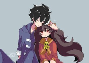 Rating: Safe Score: 0 Tags: 1boy 1girl ashley black_hair blue_background blush character_request closed_eyes collarbone dress flat_chest hood hoodie hug long_hair long_sleeves looking_at_viewer made_in_wario meiwari red_dress red_eyes sad short_hair signature simple_background sitting skull smile tears twin_tails twitter_username upper_body young_cricket User: DMSchmidt