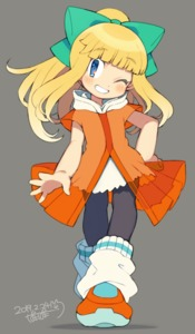 Rating: Safe Score: 0 Tags: 1girl alternate_costume android bangs blonde_hair blunt_bangs blush bow dated eyebrows_visible_through_hair full_body green_bow grey_background hair_bow hand_on_hip head_tilt high_ponytail iroyopon long_hair loose_socks one_eye_closed orange_footwear ponytail rockman rockman_(classic) roll signature simple_background smile socks teeth User: DMSchmidt