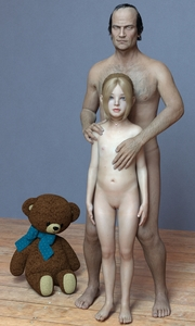 Rating: Questionable Score: 29 Tags: 1boy 1girl 3dcg age_difference barefoot blonde_hair blue_eyes clitoris flat_chest ghostrec hand_on_another's_shoulder navel necklace nipples nude photorealistic pose pussy standing stuffed_animal stuffed_toy User: fantasy-lover