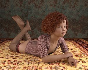 Rating: Questionable Score: 10 Tags: 1girl 3dcg 3ddased ass fishnets flat_chest green_eyes nipples photorealistic pose red_hair rug short_hair thighhighs User: fantasy-lover