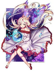 Rating: Safe Score: 0 Tags: 1girl artist_name bare_shoulders blush choker crown earth flower globe highres looking_at_viewer original parted_lips petals purple_rose red_ribbon rewolf ribbon rose smile solo yellow_eyes User: DMSchmidt
