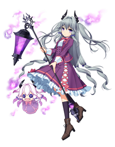 Rating: Safe Score: 2 Tags: 1girl :d bags_under_eyes blue_legwear blue_ribbon boots button_eyes creature doll dress expressionless hair_ribbon high_heel_boots high_heels highres holding_lantern horns jenevan long_hair looking_at_viewer magic open_mouth original purple_dress purple_eyes ribbon silver_hair smile socks tied_hair tress_ribbon very_long_hair white_background User: DMSchmidt