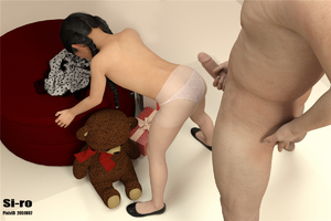 Rating: Explicit Score: 39 Tags: 1boy 1girl 3dcg age_difference ass black_hair braid censored flat_chest holding_penis long_hair nude pantsu penis photorealistic shoes siro standing stuffed_animal stuffed_toy thighhighs twin_braids underwear User: fantasy-lover