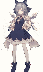 Rating: Safe Score: 0 Tags: 1girl absurdres blue_bow blue_dress blue_eyes blue_footwear blue_ribbon boots bow cirno dress full_body hair_bow hands_on_hips highres hito_komoru ice ice_wings legs_apart long_hair looking_at_viewer neck_ribbon open_mouth puffy_short_sleeves puffy_sleeves red_ribbon ribbon short_dress short_sleeves silver_hair simple_background smile solo standing thighhighs touhou_project white_background white_legwear wing_collar wings wrist_cuffs User: DMSchmidt