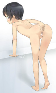 Rating: Questionable Score: 4 Tags: 1girl anus arm_support artist_name ass bandaid bandaid_on_pussy bangs bent_over black_hair blush breasts closed_mouth dated eyebrows_visible_through_hair highres looking_at_viewer looking_back original profile red_eyes signature small_breasts solo standing sweat yone_kinji User: DMSchmidt