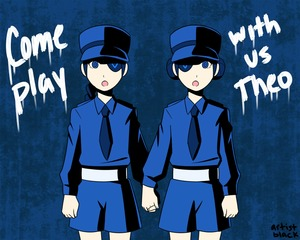 Rating: Safe Score: 1 Tags: 2girls artist_black artist_name belt blue braid caroline_(persona_5) double_bun english holding_hands justine_(persona_5) long_hair looking_at_viewer multiple_girls necktie open_mouth parody persona persona_5 short_hair shorts siblings single_braid the_shining twins User: DMSchmidt
