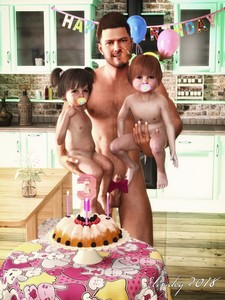 Rating: Explicit Score: 20 Tags: 1boy 2girls 3dcg age_difference cake candle highres kitchen multiple_girls nude pacifier penis photorealistic slimdog standing toddlercon uncensored User: lalilu1234