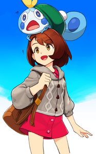 Rating: Safe Score: 3 Tags: ! !? 1girl :d :o animal animal_on_head backpack bag blue_sky brown_eyes brown_hair cardigan day female_protagonist_(pokemon_swsh) gen_8_pokemon gradient_sky green_hat hat highres long_sleeves looking_afar on_head open_mouth outdoors pokemon pokemon_(creature) pokemon_(game) pokemon_on_head pokemon_swsh randle red_shirt shirt short_hair sky smile sobble standing tam_o'_shanter User: Domestic_Importer