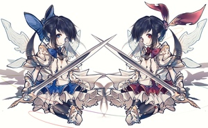 Rating: Safe Score: 0 Tags: 2girls absurdres alternate_hair_colour armour black_hair black_legwear blue_bow blue_eyes blue_hair bow bowtie closed_mouth corset crying crying_with_eyes_open dress floating_hair frilled_skirt frills full_body hair_bow hair_ribbon hand_up highres hito_komoru holding holding_weapon long_hair looking_at_viewer miniskirt multiple_girls red_eyes ribbon shanghai_doll shiny shiny_clothes simple_background skirt solo sword tears thighhighs touhou_project weapon white_background white_skirt wings User: DMSchmidt