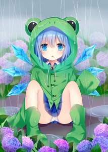 Rating: Safe Score: 3 Tags: 1girl amashiro_natsuki blue_dress blue_eyes blue_hair boots cirno dress flower frog_button frog_hair_ornament hair_ornament highres hydrangea ice ice_wings long_sleeves looking_at_viewer open_mouth panchira pantsu pantyshot_(sitting) rain raincoat rubber_boots sitting sleeves_past_wrists solo touhou_project underwear upskirt white_pantsu wings User: DMSchmidt