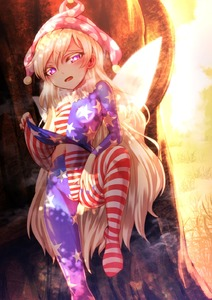 Rating: Safe Score: 1 Tags: 1girl against_tree american_flag_legwear blonde_hair blue_nails breasts clownpiece fairy_wings flag_print grass half-closed_eyes hat highres jester_cap leg_up long_hair medium_breasts nail_polish navel neck_ruff nomayo open_mouth pantyhose purple_eyes red_nails shade shirt shirt_lift sunlight touhou_project tree very_long_hair wings User: DMSchmidt