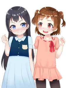 Rating: Safe Score: 5 Tags: 2girls :d >:) aijou_karen atg_(wttoo0202) bangs black_hair black_legwear blue_dress blue_eyes blue_vest blush brown_hair closed_mouth dress eye_contact eyebrows_visible_through_hair hand_up head_tilt highres holding_hands interlocked_fingers kagura_hikari long_hair looking_at_another looking_to_the_side multiple_girls open_mouth pantyhose pink_dress red_eyes red_ribbon ribbon ribbon-trimmed_dress ribbon_trim short_sleeves shoujo_kageki_revue_starlight simple_background smile two_side_up very_long_hair vest white_background User: DMSchmidt