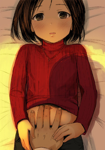 Rating: Questionable Score: 3 Tags: 1girl bangs bed_sheet blush brown_eyes brown_hair clothes_lift from_above hand_on_another's_stomach hands holding_hand indoors jewellery lifted_by_another long_sleeves looking_at_viewer looking_up lying navel necklace on_back on_bed open_mouth original parted_bangs pov red_sweater ribbed_sweater shadow short_hair solo_focus sunlight sweater sweater_lift upper_body walkalone User: Domestic_Importer