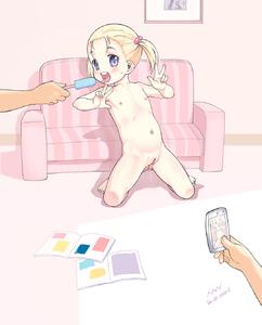 Rating: Explicit Score: 1 Tags: 1girl 2boys ass_visible_through_thighs blonde_hair blue_eyes blush book camera cellphone censored clitoris couch double_v feet fingernails flat_chest food full_body hair_bobbles hair_ornament highres holding holding_phone ice_cream ice_pop kneeling male_hand mosaic_censoring multiple_boys nanjou_asuka navel nipples nude open_mouth original phone pussy pussy_juice smartphone solo_focus sweat teeth toenails tongue tongue_out twin_tails v User: Domestic_Importer