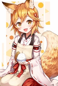 Rating: Safe Score: 1 Tags: 1girl :d animal_ear_fluff animal_ears apron bangs blonde_hair blush bowl eyebrows_visible_through_hair eyes_visible_through_hair fang flower food fox_ears fox_tail hair_between_eyes hair_flower hair_ornament highres japanese_clothes looking_at_viewer miko open_mouth ribbon-trimmed_sleeves ribbon_trim rice sakura_ani seiza senko_(sewayaki_kitsune_no_senko-san) sewayaki_kitsune_no_senko-san short_hair sitting smile solo tail wide_sleeves yellow_eyes User: Domestic_Importer