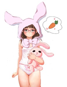 Rating: Questionable Score: 6 Tags: 1girl animal_ears brown_hair bunny_ears camisole carrot flat_chest green_eyes kawaii long_hair solo stuffed_rabbit third-party_edit User: rabbit