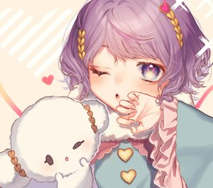 Rating: Safe Score: 1 Tags: 1girl ;o bangs beige_background blue_shirt blush eyebrows_visible_through_hair frilled_sleeves frills hand_up heart highres komeiji_satori long_sleeves looking_at_viewer mokokiyo_(asaddr) one_eye_closed parted_lips purple_eyes purple_hair shirt short_hair solo touhou_project upper_body wide_sleeves User: DMSchmidt