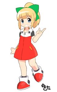 Rating: Safe Score: 1 Tags: 1girl ashida_nanase bangs blonde_hair blue_eyes blunt_bangs bow capcom eyebrows_visible_through_hair fringe full_body green_bow hair_bow hair_ornament hand_gesture high_ponytail one_leg_raised ponytail rockman rockman_(classic) rockman_11 roll shoes signature simple_background smile solo standing teeth white_background zipper User: DMSchmidt