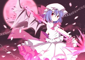 Rating: Safe Score: 1 Tags: 1girl ashino back_bow bangs bat bat_wings blush bow chain frilled_hat frilled_sleeves frills from_side full_moon glowing hat hat_bow large_bow lavender_hair looking_at_viewer looking_to_the_side mob_cap moon night night_sky outdoors pink pink_bow pink_sky puffy_short_sleeves puffy_sleeves red_eyes remilia_scarlet short_hair short_sleeves sky solo star_(sky) starry_sky touhou_project wings wrist_cuffs User: DMSchmidt