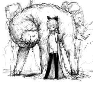 Rating: Questionable Score: 2 Tags: 1girl :3 bow creature flat_chest hair_bow monar monochrome monster navel nipples nude original pon_(tab_rasa) shobon sketch standing thighhighs what User: DMSchmidt