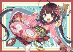 Rating: Safe Score: 2 Tags: 1girl ahoge bangs blue_eyes blush board_game bow brown_hair eyebrows_visible_through_hair fingernails floral_print flower food full_body gurasion hagoita hair_flower hair_ornament hinatsuru_ai holding japanese_clothes kimono long_hair long_sleeves looking_at_viewer low_twintails mochi obi open_mouth outstretched_arm paddle pinching_sleeves pink_kimono print_kimono red_bow red_flower ryuuou_no_oshigoto! sash shougi sidelocks socks solo twin_tails upper_teeth very_long_hair wagashi white_legwear wide_sleeves User: Domestic_Importer