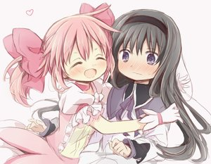 Rating: Safe Score: 0 Tags: 2girls ^_^ akemi_homura black_hair blush capelet closed_eyes collar dress eyebrows_visible_through_hair frilled_sleeves frills gloves hair_ribbon hairband heart highres hitode hug kaname_madoka long_hair long_sleeves mahou_shoujo_madoka_magica multiple_girls pink_hair pink_ribbon purple_eyes ribbon shirt smile sweatdrop twin_tails wavy_mouth white_background yuri User: DMSchmidt