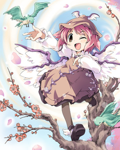 Rating: Safe Score: 2 Tags: 1girl bird ham_(points) hat mystia_lorelei one_eye_closed plant short_hair solo team_shanghai_alice touhou_project tree User: DMSchmidt