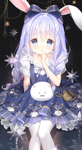 Rating: Safe Score: 0 Tags: 1girl angora_rabbit animal_ears bangs blue_bow blue_dress blush bow braid bunny bunny_ears chain character_print dress eyebrows_visible_through_hair flat_chest gochuumon_wa_usagi_desu_ka? hair_bow hair_ornament hair_over_shoulder hand_to_own_mouth highres jewellery kafuu_chino long_hair looking_at_viewer pantyhose parted_lips pocket_watch print_dress purple_hair ribbon ring roman_numerals shiny shiny_hair short_sleeves siloteddy sitting star tippy twin_braids twin_tails watch white_legwear white_ribbon x_hair_ornament User: DMSchmidt