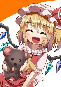 Rating: Safe Score: 3 Tags: 1girl ^_^ arm_at_side arm_up bangs blonde_hair blush closed_eyes cowboy_shot cravat eyebrows_visible_through_hair facing_viewer fang flandre_scarlet frilled_shirt_collar frills hair_between_eyes happy hat hat_ribbon highres holding holding_stuffed_animal leaning_to_the_side mob_cap open_mouth orange_background pink_headwear puffy_short_sleeves puffy_sleeves red_skirt red_vest ribbon shiny shiny_hair shirt short_hair short_sleeves side_ponytail simple_background skirt skirt_set solo stuffed_animal stuffed_toy sugiyama_ichirou teddy_bear touhou_project two-tone_background vest white_background white_shirt wings yellow_neckwear User: DMSchmidt