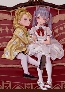 Rating: Safe Score: 9 Tags: 2girls animal_ears arm_hug artist_name bangs black_footwear black_legwear blonde_hair blush bow bowtie brooch cat_ears couch dress earrings eyebrows_visible_through_hair feiqizi_(fkey) fkey full_body gloves grey_background grey_eyes hand_print head_tilt highres jacket jewellery long_hair long_sleeves looking_at_viewer mary_janes multiple_girls original pantyhose ponytail puffy_short_sleeves puffy_sleeves red_bow red_eyes red_neckwear shoes short_sleeves sidelocks signature silver_hair simple_background skull twin_tails white_dress white_footwear white_gloves white_legwear yellow_jacket User: DMSchmidt