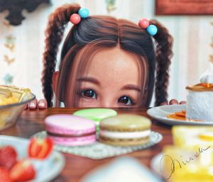Rating: Safe Score: 15 Tags: 1girl 3dcg braid brown_eyes brown_hair dessert food kneeling long_hair looking_at_viewer mayamiarka photorealistic playful table twin_braids twin_tails User: fantasy-lover