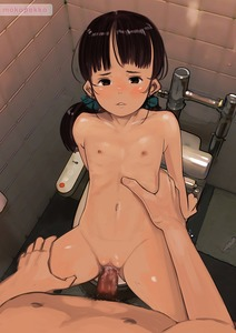 Rating: Explicit Score: 18 Tags: 1boy 1girl artist_name bathroom black_hair brown_eyes brown_hair collarbone flat_chest hair_scrunchie hetero highres long_hair looking_at_viewer male_pubic_hair missionary mokopekko nipples nude original pov pov_eye_contact pubic_hair scrunchie sex solo_focus spread_legs third-party_edit toilet twin_tails uncensored vaginal User: Domestic_Importer