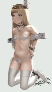 Rating: Safe Score: 4 Tags: 1girl absurdres arms_behind_back backlighting bangs bare_shoulders bikini black_choker black_neckwear blue_eyes blunt_bangs bound_ankles brown_hair choker cross crown_of_thorns crucifix crucifixion eyebrows flat_chest full_body genderswap genderswap_(mtf) high_heels highres jesus jewellery kneeling long_hair looking_at_viewer micro_bikini navel necklace original otto paid_reward patreon_reward pendant restrained shoes side-tie_bikini simple_background solo swimsuit thighhighs white_bikini white_legwear white_swimsuit younger User: Domestic_Importer